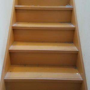 階段 家族4人でお出かけ