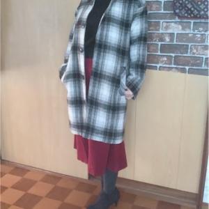 今日のアラフィフコーディネート チェックコートとユニクロの激安コーデュロイスカート