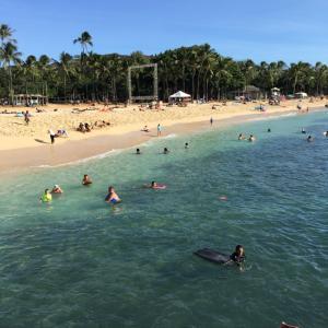 ハワイ日曜日のワイキキビーチ