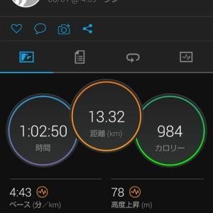 旅立つ前に13.3kmEペース走。