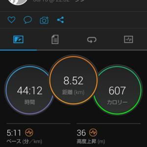 遅めの時間に8.5kmJOG。関西での生活7日目。