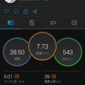 帰宅後RUN。7.7kmJOG。関西での生活11日目。