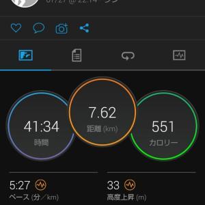 帰宅後22時より7.6kmランニング。久々の坂道走。関西での生活48日目。