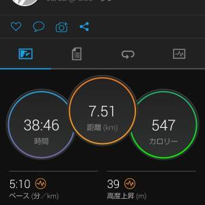 アルファフライで走った翌日。日勤前に7.5kmJOG。