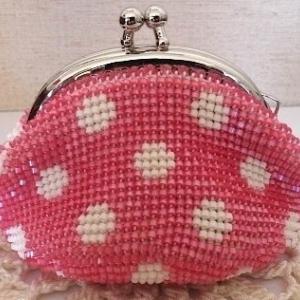 ビーズ編みがま口の内布と口金付けのコツ:中心をしっかり合わせる