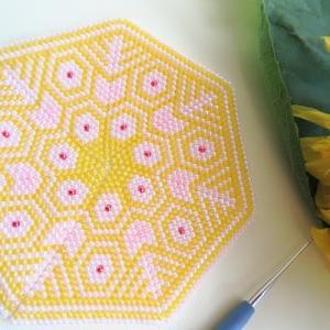 編み込み模様のビーズ編みがま口 出来上がりをイメージして図案づくり