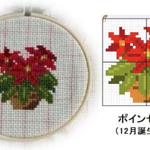 クロスステッチ図案の書き方 その12|ポインセチア(12月の誕生月花)