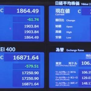 バブル崩壊の兆し?日経平均株価1200円以上下落前にidecoのスイッチングで利確!