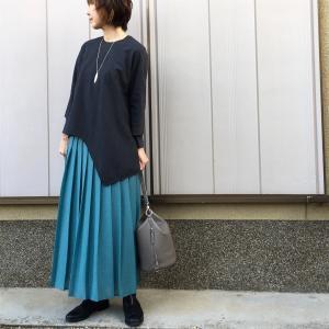 【R45の普段着コーデ】私立高校受験日です!まだ寒いけど春色のスカート着てみました