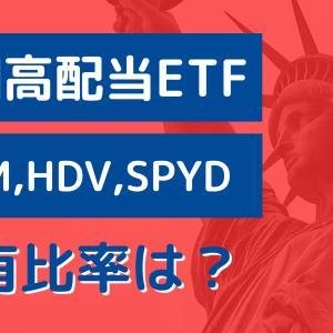 米国高配当ETFのおすすめ銘柄VYM,HDV,SPYD!保有比率は?