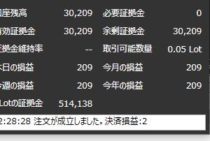再開1日目。+209円