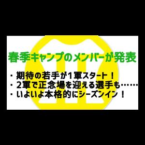 【2021年・阪神タイガース応援ブログ】春季キャンプのメンバーが発表