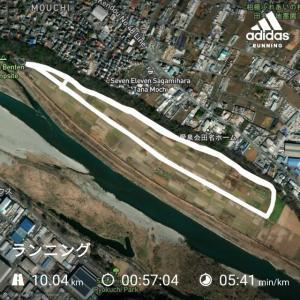 田んぼの畦道コース10km 走