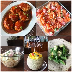 誕生日のごはん*チーズインハンバーグ、きゅうりとオクラの白だし漬け、スコップ寿司など