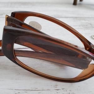 折り畳むとコオロギみたいでしょ。これ100均の折りたたみ老眼鏡です。カラビナ付きのケースに入っちゃうので便利!!