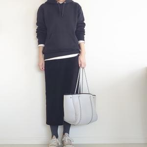 【GU×UNIQLO】黒ワントーンのセットアップ風コーデ
