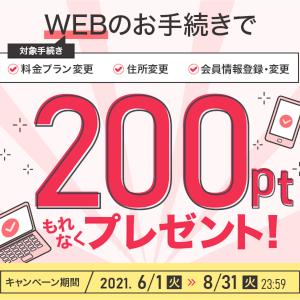 ドコモのWEBで変更手続きをすると200ポイントもらえるキャンペーン