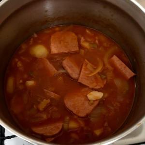 真っ赤な韓国料理「じゃがいもチャグリ」