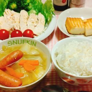【今日の夕食】サラダチキン、キャベツのコンソメスープ、厚揚げのステーキ