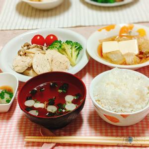 【今日の夕食】鶏むね肉のソテーおろしポン酢添え、白菜と豆腐の煮びたし