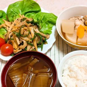 今日の夕食『鶏手羽元と大根の煮物』『豚肉のチンジャーロース風』