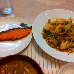 今日の夕食は野菜炒めと焼き鮭