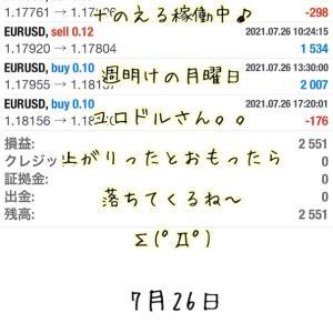7月26日・自動売買ソフト『 Sugar(しゅがー)』@ 週明けの月曜日~(*'▽')/