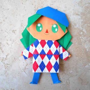 「きせかえ 折り紙ドール」でポケ森風オシャレドール製作