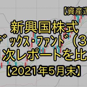 【類似商品を比較】3つの新興国株式インデックス・ファンド月次レポートを比較!?(2021年5月末)