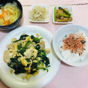 豚肉と小松菜の卵とじ