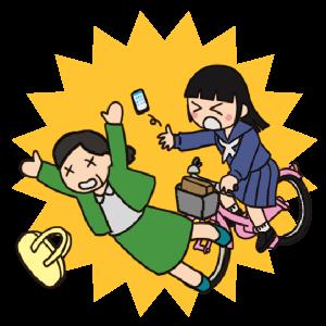 No.123【危険運転】自転車で歩行者にぶつかる女子生徒のイラスト