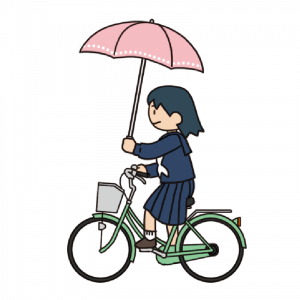 No.125【危険運転】傘をさして自転車運転する女子生徒のイラスト