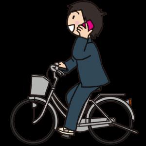 No.129 【危険運転】スマホで通話しながら自転車を運転する男子生徒のイラスト