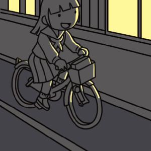No.131 【危険運転】無灯火の自転車で走る女子生徒のイラスト