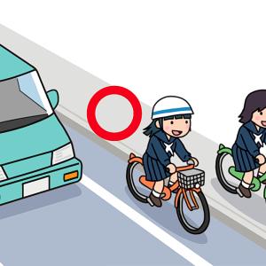 No.139 自転車の通行区分を守る・違反する女子生徒のイラスト