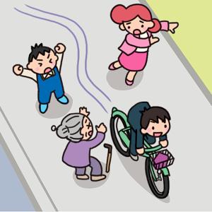 No134 【危険運転】歩道を自転車で爆走する男子生徒のイラスト