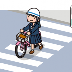 No.138 横断歩道を押して渡る自転車のイラスト