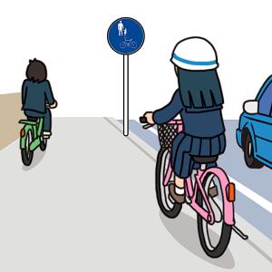 No.135 歩道を通行する自転車のイラスト