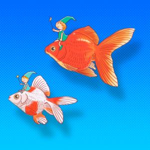 No.143 金魚に乗った精霊のイラスト(背景あり・なし)