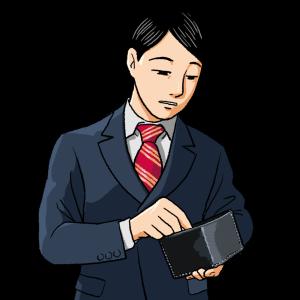 No.145 財布の中身を気にするスーツの男性のイラスト