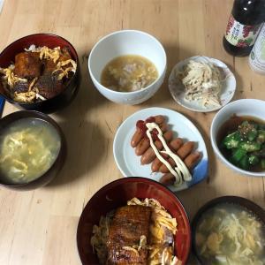 今日の晩御飯 鰻丼 オットのサプライズ