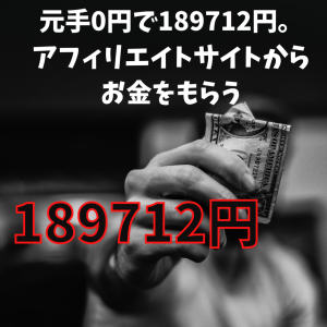 【1日で10万円以上稼いだ】元手0円で189712円。アフィリエイトサイトからお金をもらう