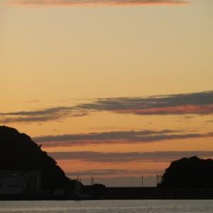 今日は夕日夕焼けが見えた!
