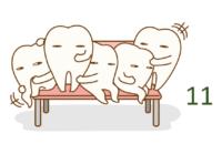アライナー 11番(3月26日~4月8日)と終了時の歯(写真)