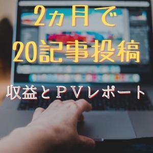 ブログ開設から【2か月経過で20記事投稿】での収益とPVの話