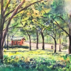 透明水彩スケッチ「新緑の中で描く」鶴見緑地韓国館跡界隈