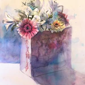 透明水彩スケッチ「季節の花」