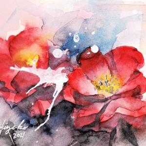 透明水彩楽描き「薔薇」