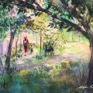 透明水彩スケッチ「山法師の咲く季節」鶴見緑地中央ゲート界隈