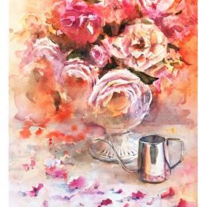 透明水彩画「ひとりの時間」~薔薇とワンドリップポット~